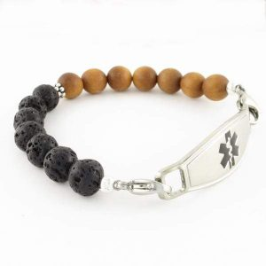 Balance Beaded Medical ID Bracelet with lobster clasps and a caduceus symbol ID tag