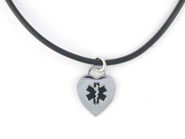 Black Rubber Medical Necklace