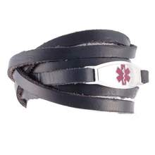Black Wrap Leather Medical Bracelets