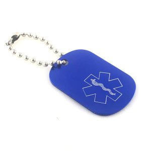 Blue Medical Alert Keychain