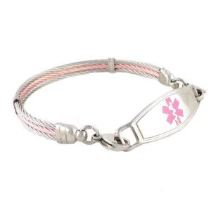 Chapel Cable Medical ID Bracelet for women in pink and silver cables with Contempo medical tag