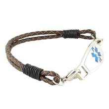Double Braided Leather Medical Bracelet w/Contempo ID