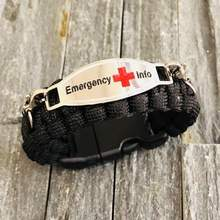 Emergency Paracord Bracelet with Whistle Black