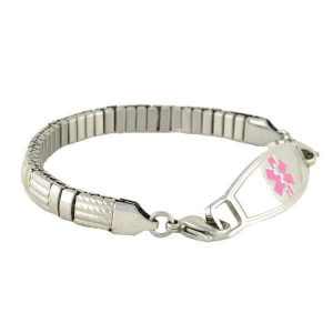 Hestia Stretch Medical Bracelet with stainless steel custom medical ID tag