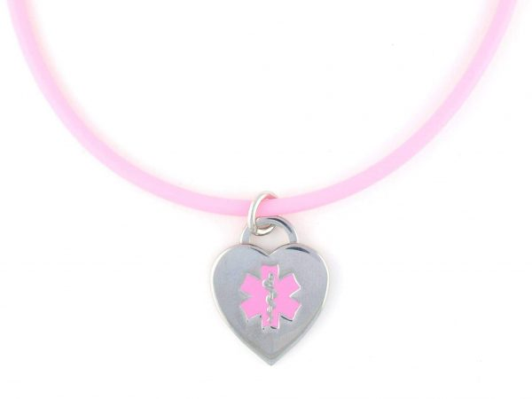 Pink Rubber Medical Necklace