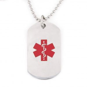 Red Stainless Steel Medical Dog Tag